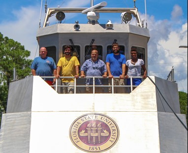 Marine Operations team. From left to right: Ephey Priest, Matt Edwards, Jon Schneiderman, Chris Matechik, and Dionne Wilson