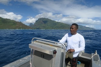 Jackson on a research trip in Mo'orea, French Polynesia